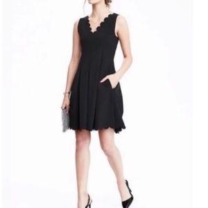 Banana Republic black scalloped dress